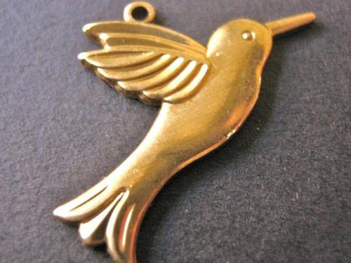 Brass hummingbird 28x16mm bird charm
