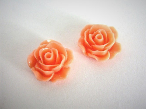 Opaque orange 17mm rose flower resin cabochon