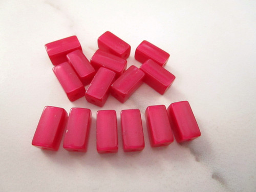 Magenta Pink Moonglow 12mm squared tube vintage lucite bead