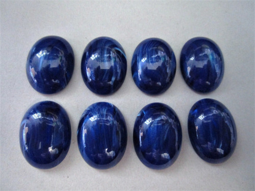 Blue marble moonglow 15x20mm oval vintage lucite cabochon