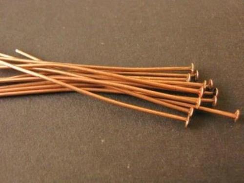 Flat head pin 50mm (2 inch) antique copper finish 20 gauge