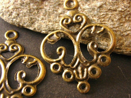 Earring setting 24x13mm filigree chandelier antique bronze finish