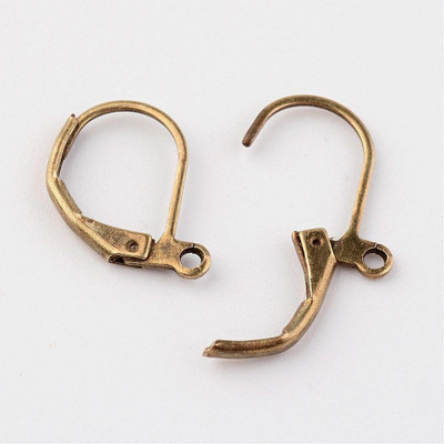 Lever back earring wire hooks 10x15mm antique bronze finish