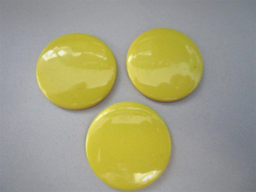 Opaque yellow 35mm round cabochon vintage lucite