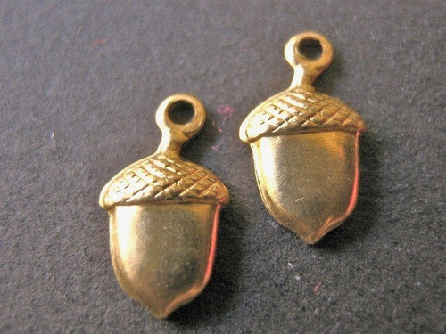 Brass acorn charm 6x11mm
