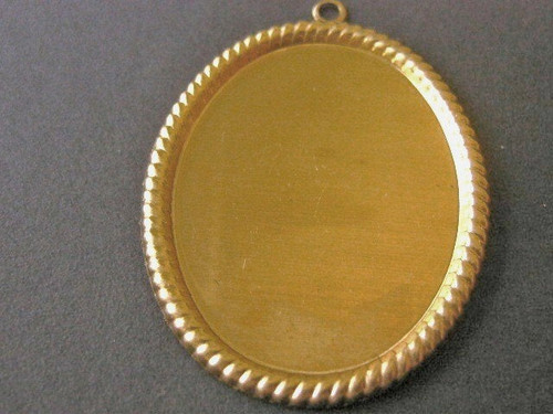 Raw Brass Cabochon Setting 40x30mm Rope Edge Cameo Blanks