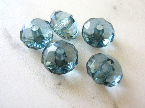 Montana blue 14x9mm faceted rondelle acrylic plastic beads