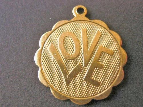 Brass Love Charm 19mm Round Scalloped Edge