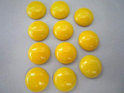 Opaque Yellow 15mm Round Cabochon Vintage Lucite