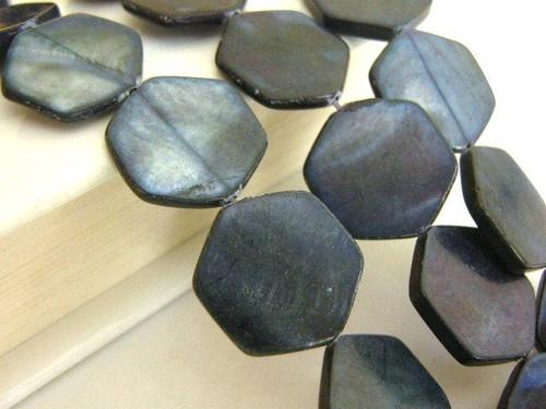 Black 18mm hexagon shell beads