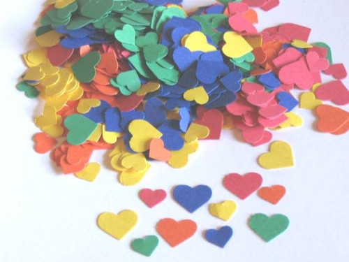 560pc Rainbow Heart Confetti Die Cut 5/16 Inch and 7/16 Inch Red Orange Yellow Green Blue Wedding Table Scatter