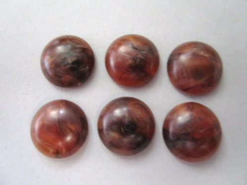 Brown 15mm round vintage lucite cabochon