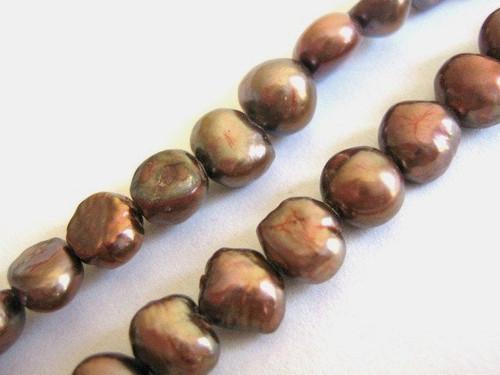 Pink bronze 8mm potato freshwater pearl beads
