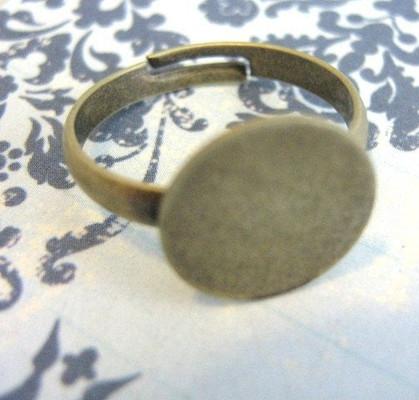 Adjustable brass ring blank 12mm pad antique bronze finish