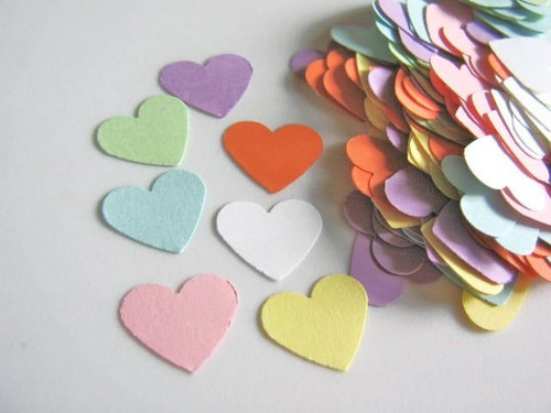 300 Confetti Conversation Heart Die Cuts 5/8 Inch Cut Outs, Scrapbook, Table Scatter, Cardstock Paper