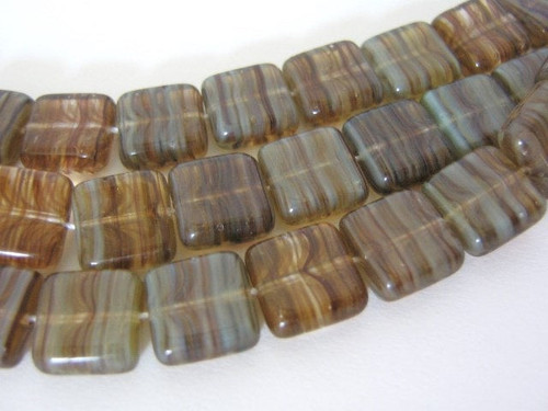 brown green 8mm square Czech glass bead