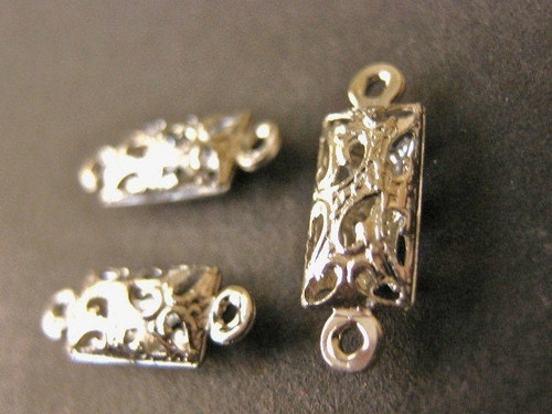 Silver tone 5x16mm filigree link connector