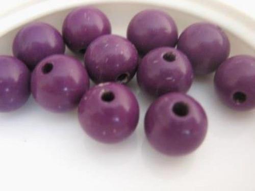 Opaque purple 8mm round vintage lucite beads