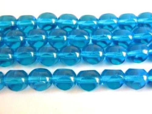 blue 8mm triangle cut Czech glass bead