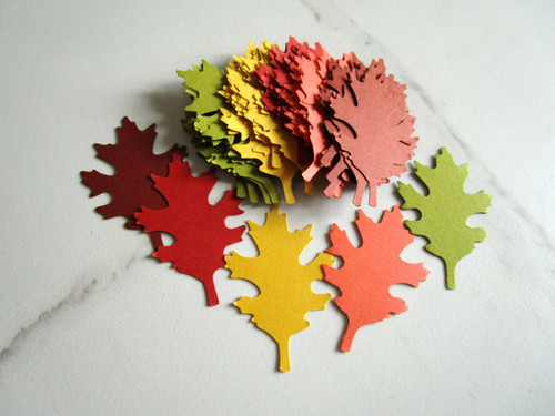 Autumn Mix Oak Leaf Die Cuts 1 3/8 x 2 Inch Cut Out Punches Green Orange Yellow Brown Cardstock Paper | Ready to Ship