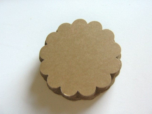 60pc Scalloped Circle Die Cuts 2.5 Inch Round Kraft Brown Paper Cardstock 65lb Ready to Ship