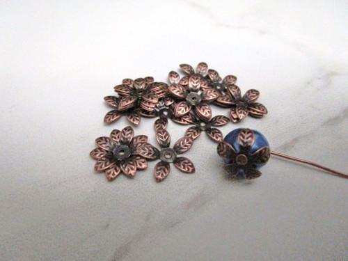 Antique Copper Finish 15mm Flower Leaf Bead Caps
