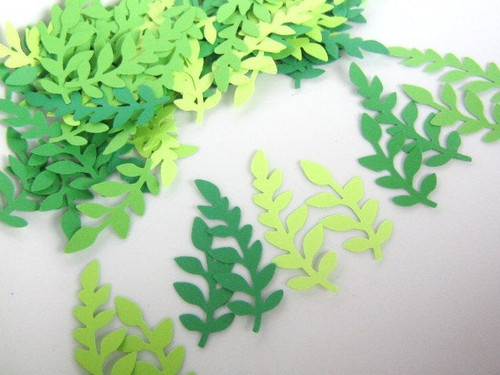 Fern Leaf Die Cut 1 1/2 & 2 Inch Cut Out Leaves Vine Foliage Green Ombre Mixture 100pc