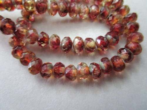 yellow red picasso 5x3mm faceted rondelle Czech beads