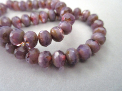 purple picasso 7x5mm faceted rondelle Czech beads