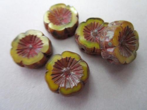 green picasso 14mm hibiscus flower Czech bead