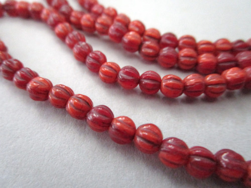 red picasso 4mm melon Czech beads