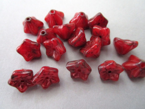 red picasso 5x8mm trumpet flower Czech glass bead