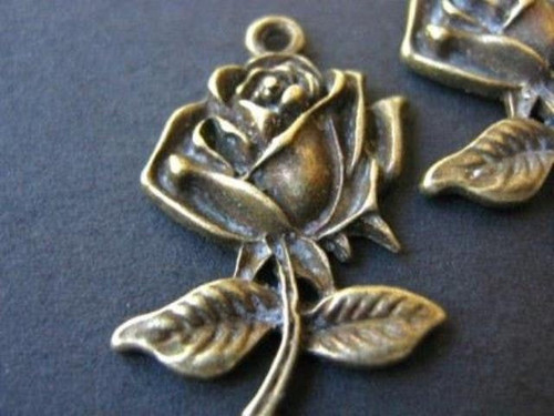 Antique bronze finish 25mm flower rose charms