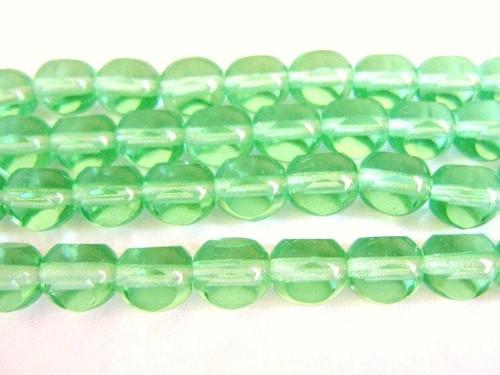 green 8mm triangle cut Czech glass bead