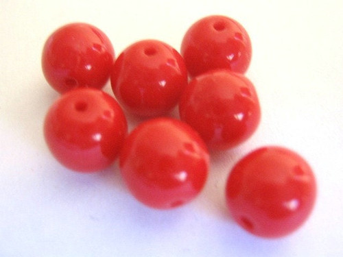 opaque red 8mm round Czech glass bead