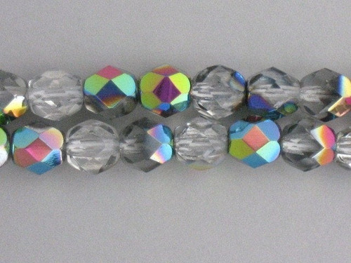 vitrail 4mm faceted round Czech glass bead