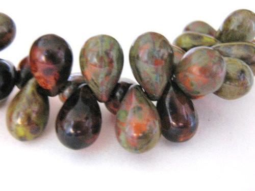 brown orange picasso 9x6mm teardrop Czech bead