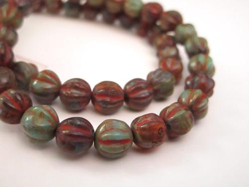 brown green 6mm melon Czech glass bead