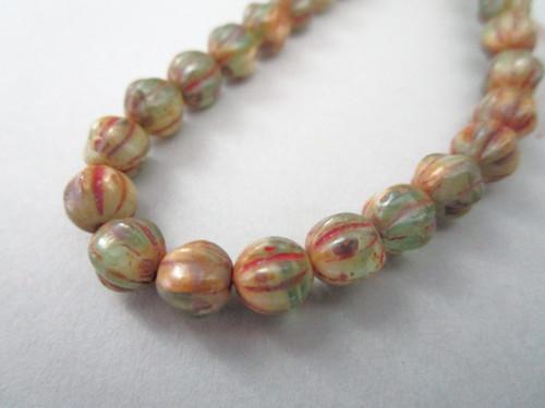 Green brown picasso 6mm melon Czech glass beads