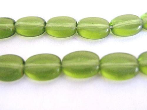green 8x6mm flat oval Czech glass beads