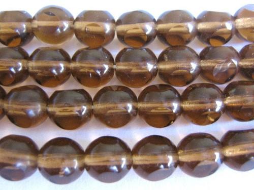 brown 8mm triangle cut Czech glass bead
