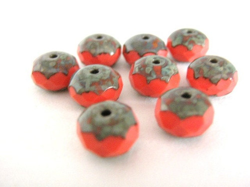 opaque red picasso 9x6mm faceted rondelle czech glass bead