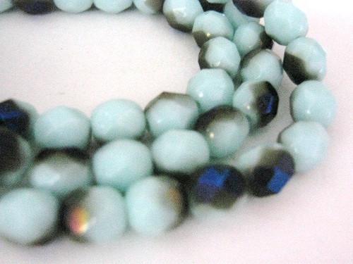 blue iris zarit 6mm faceted round Czech glass bead