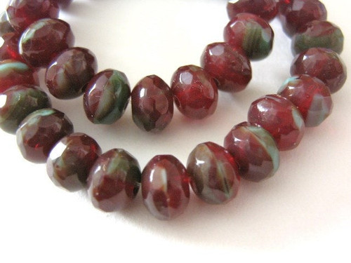 Red turquoise picasso 6x4mm faceted rondelle Czech glass bead