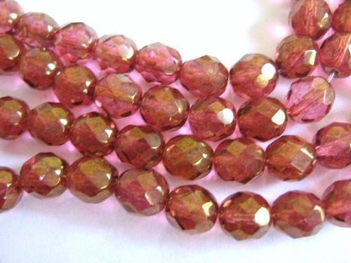 Lumi pink 8mm faceted round Czech glass bead