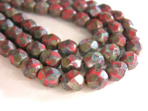 Opaque red picasso 6mm faceted round Czech glass bead