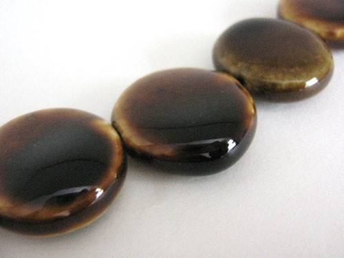 Honey brown 22mm coin porcelain bead flat round