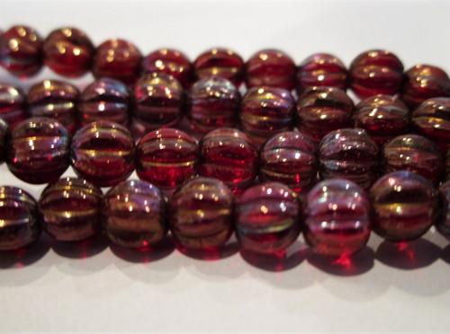 Bronze red 5mm melon Czech glass beads