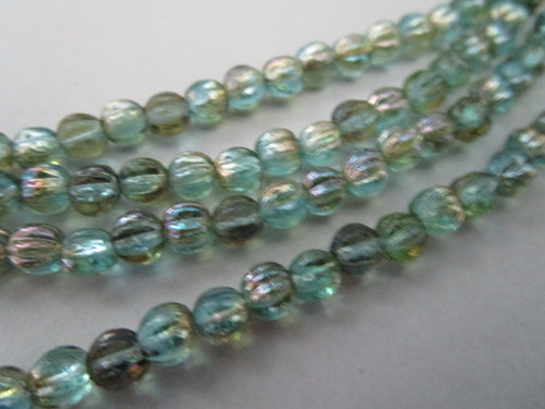 Blue aquamarine celsian 5mm Czech glass beads