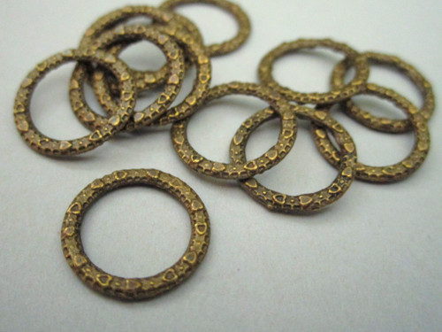 Closed jump ring 14mm textured link antique bronze finish